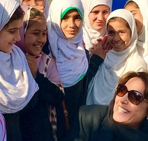 Yasmine Sherif with young girls